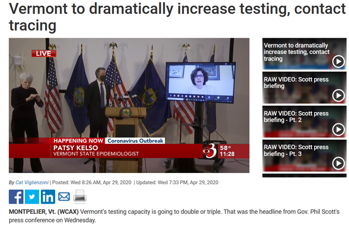 Vermont to dramatically increase testing, contact tracing.