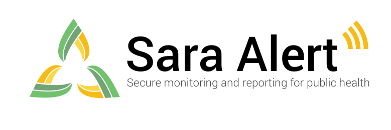 Sara Alert: Secure monitoring and reporting for public health. Branded small logo.