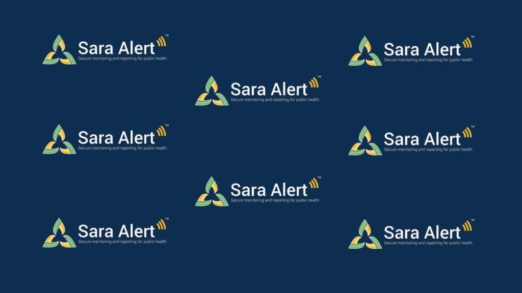 Sara Alert logo with blue background. To be used in Zoom meetings.