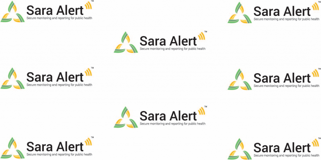 Sara Alert logo with white background. To use in Zoom meetings.